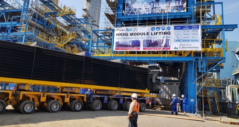 Package 1 - HRSG modules moved into the boiler area, which was then lifted by strand jack. (2/6)